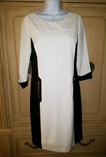 CALVIN KLEIN BLACK CREAM COLORBLOCK CAREER DRESS WOMEN SZ 6