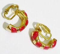 boucles d'oreilles clips demi anneaux émail rouge bijou vintage couleur or 3372