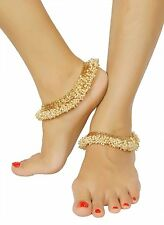 PL-83 Goldtone Anklet Set Indian Bridal Women 1 Pair Foot Chain Ankle Bracelet