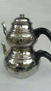 Turkish copper Teapot,Double Kettles Caydanlik,Brass Handle,Handmade-handcrafted