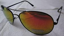 Aviator Mirrored Sunglasses Black Frame Metallic Yellow Red Lens Womens Mens