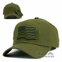 USA American Flag Hat Detachable Patch Tactical Military Baseball cap- Olive