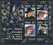 Tuvalu 2017 MNH Princess Diana 20th Memorial Anniv 4v M/S I Royalty Stamps