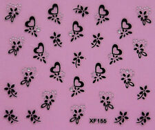 Nail Art 3D Decal Stickers Hearts and Flowers Xf155