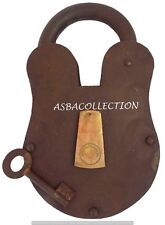 """Antique Vintage Door Lock Old Model Iron Locks With Key Large 10"""" Collectibles"""