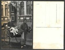 Old Postcard - China or Hong Kong Real Photo - Woman in Rickshaw