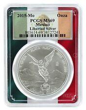 2015 Mexico 1oz Silver Onza Libertad PCGS MS69 - Flag Frame