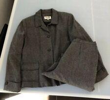 Women's Bill Blass Suit 100% Wool Tweed Size 14 Blazer Pants 2 Piece