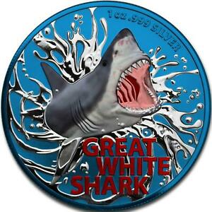 Australia 2021 1$ - Great White Shark - Space Blue - 1 Oz Silbermünze