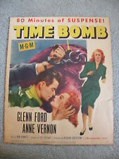 """Time Bomb #53/5 Glenn Ford and Anne Vernon window card 14""""X16""""1953 movie"""