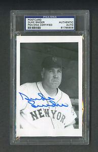 Duke Snider signed New York Mets baseball postcard Psa