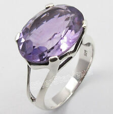 925 Pure Silver PURPLE AMETHYST Big Stone NEW Claw Setting Ring Any Size 5 to 10