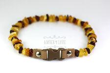 Baltic amber & clasp anti-tick anti flea pet Dog/Cat Collar POLISHED multicolor