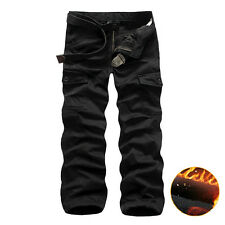 Men's Winter Warm Lined Casual Cargo Pants Tactical Combat Work Trousers Outdoor