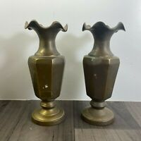 Authentic Vintage Pair Of Beautiful Heavy Brass Vases 7in Tall