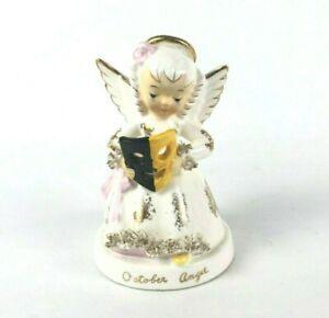 """Napco Vintage Hand Painted Porcelain October Angel w Mask VGC 4"""""""