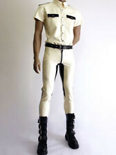Latex Rubber Gummi White and Black Top and Pants Military Uniform Size XS-2XL