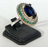 925 Sterling Silver Handmade Antique Turkish Sapphire Ladies Ring Size 7-9