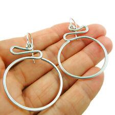 Wide Hoops 925 Sterling Silver Swirl Drop Earrings