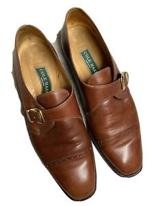 Cole Haan Womens Brown Leather Captoe Monk Strap Dress Shoes Italy Size Sz 10 B