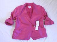 Armani Collezioni Women's Silk-Blend 3/4 Sleeve Blazer HD3 Pink Size IT:50 US:14