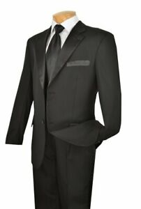 NEW Mens 2PC. Solid BLACK Classic Fit Formal Tuxedo Suit with Black Satin Lapel