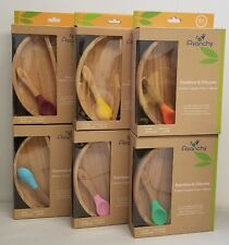 Avanchy Bamboo Suction Toddler Plate + Spoon - New