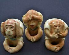 Vintage Resin Set of 3 Wise Monkeys. Hand Crafted Okimono Japanese Design