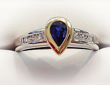 Sapphire and Diamond Ring Ladies 14K Two Tone Gold