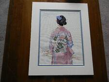 Completed Elsa Williams Cross Stitch Kimono Japanese Geisha Jca New 13x16 w/mat