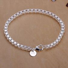 wholesale sterling solid silver fashion charms box chain Bracelet XLSB172