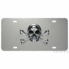 3D PIRATE SKULL CROSSBONES EMBLEM FRONT LICENSE PLATE STAINLESS STEEL ABS