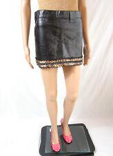 Ladies Vtg Retro 80s Sexy Black Wet Look Real Leather Mini Skirt sz 10 12 AR65