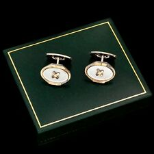 Antique Vintage Deco Sterling 835 Silver Gold Plated Mother of Pearl Cufflinks