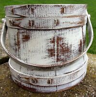 Firkin-Wood Sugar Bucket-Shaker Pantry Box-COLONIAL WHITE Paint-Primitive Staved