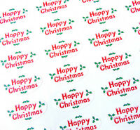 Happy Christmas Oval Seal Labels, Stickers for Gift Wrap, Envelopes, Bags, Cards