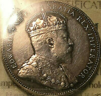 1902 CANADA SILVER 25 CENTS QUARTER COIN - ICCS EF-40 Cleaned