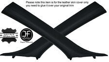 BLACK STITCH 2X A PILLAR LEATHER COVERS FITS BMW 6 SERIES E64 CONVERTIBLE 04-11