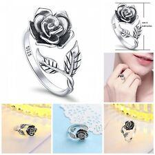 Women Jewelry Rose Flower Ring Sterling Silver Adjustable Wrap Open Rings Size 7