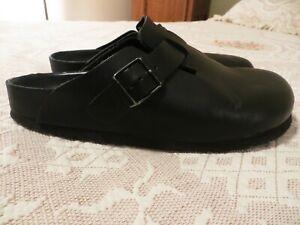 Women's Size 7 European 38 Black Leather Boston BIRKENSTOCK Clogs VERY CLEAN