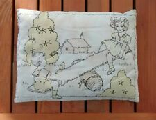 Vintage Hand Embroidered Crib Baby Pillow 1920s Children Seesaw
