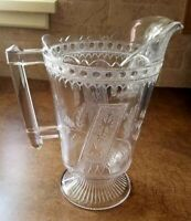 Antique EAPG 1880 Glass Pitcher Prayer Rug pattern, Adams Co.