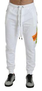 DOLCE & GABBANA Pants Cotton White DG Logo Jogging Sweatpants IT48/ M