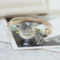 Glass Bracelet Weave Lucky Handmade Dandelion Dried Flowers Beads Women Jewelry