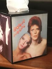 DAVID BOWIE TISSUE BOX COVER WITH AN ALBUM COVER ON EACH SIDE