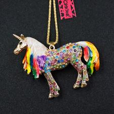 Women's Colorful Crystal Unicorn Horse Pendant Betsey Johnson Long Necklace