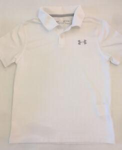 Under Armour Boys Shirt White PoloSize YSM (7/8)