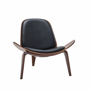 Tripod Plywood Lounge Chair Walnut Bentwood Upholstered Faux Leather, Black