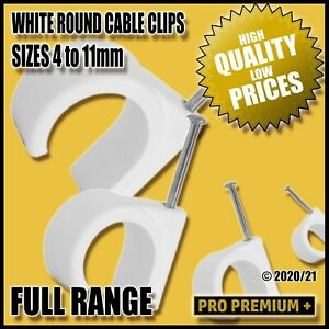 White Cable Clips Clamps Nail Tidy Wall Tacks for Wire Leads 4,5,6,7,8,9,10,11mm