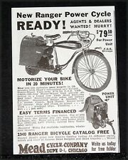 1939 OLD MAGAZINE PRINT AD, MEAD, NEW RANGER POWER CYCLE, MOTORIZE YOUR BIKE!